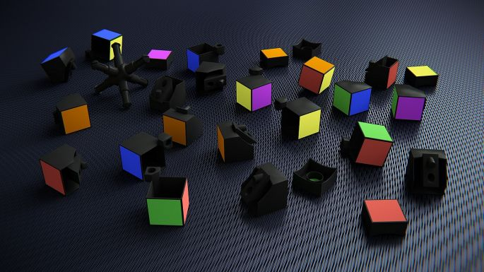 Rozoskladaná Rubikova kocka