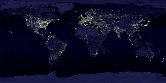 Pohľad na Zem v noci